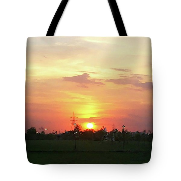 Yellow Sunset At Park Tote Bag