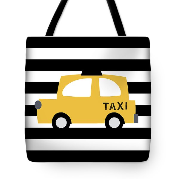 Yellow Taxi With Stripes- Art By Linda Woods Tote Bag