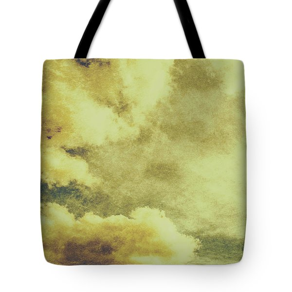 Yellow Toned Textured Grungy Cloudscape Tote Bag