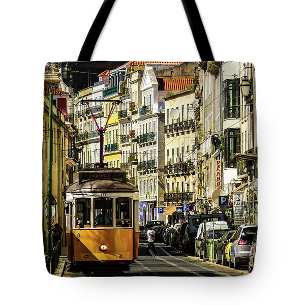 Yellow Tram In Downtown Lisbon, Portugal Tote Bag