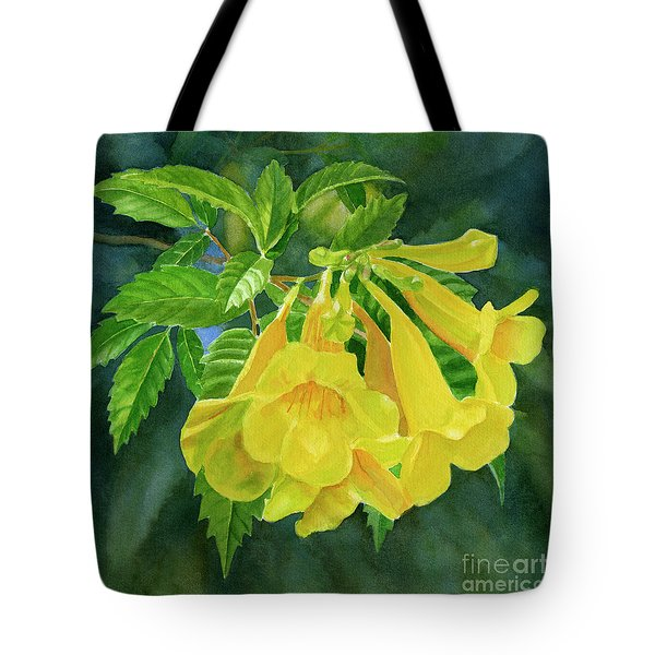 Yellow Trumpet Flowers With Dark Background Tote Bag