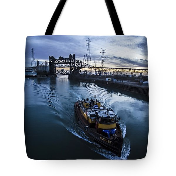 Yellow Tug Boat Approaching  Tote Bag