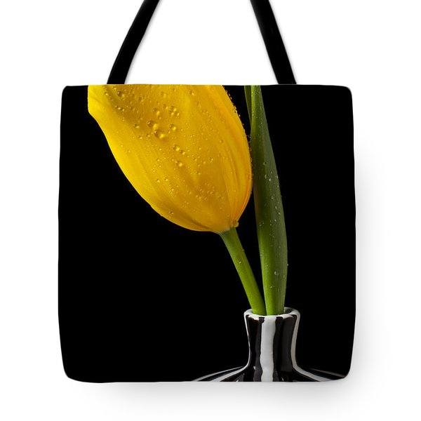 Yellow Tulip In Striped Vase Tote Bag by Garry Gay