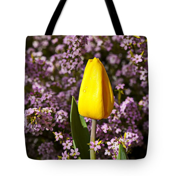 Yellow Tulip In The Garden Tote Bag by Garry Gay