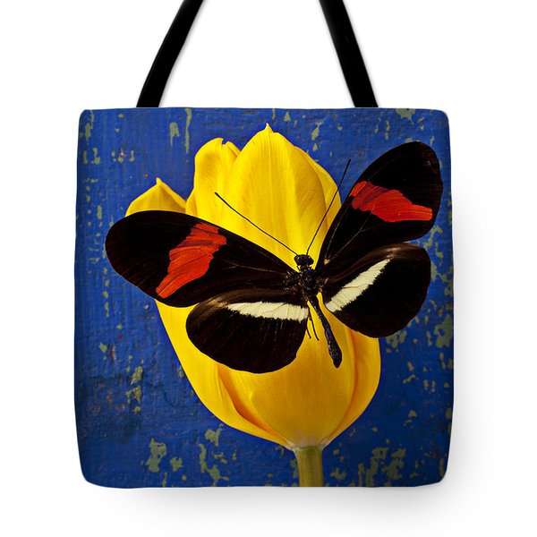 Yellow Tulip With Orange And Black Butterfly Tote Bag