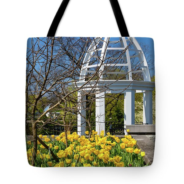 Tote Bag featuring the photograph Yellow Tulips And Gazebo by Tom Mc Nemar