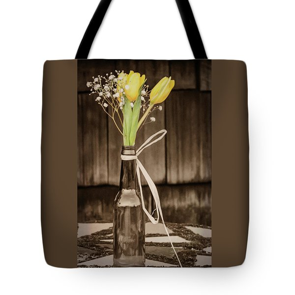 Yellow Tulips In Glass Bottle Sepia Tote Bag by Terry DeLuco