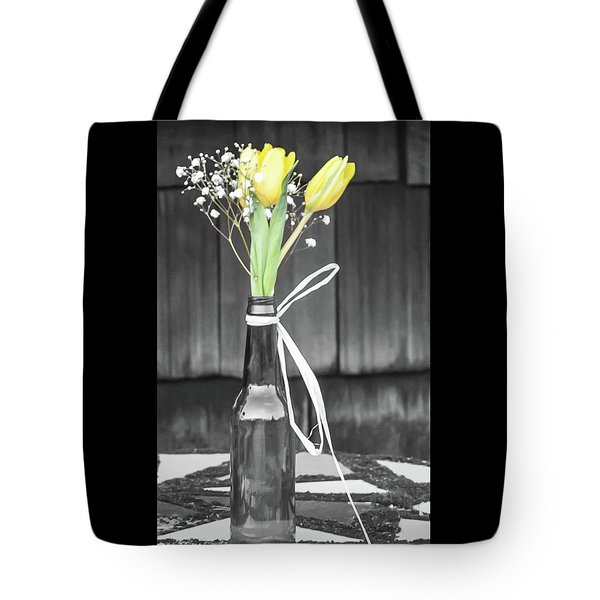 Yellow Tulips In Glass Bottle Tote Bag by Terry DeLuco