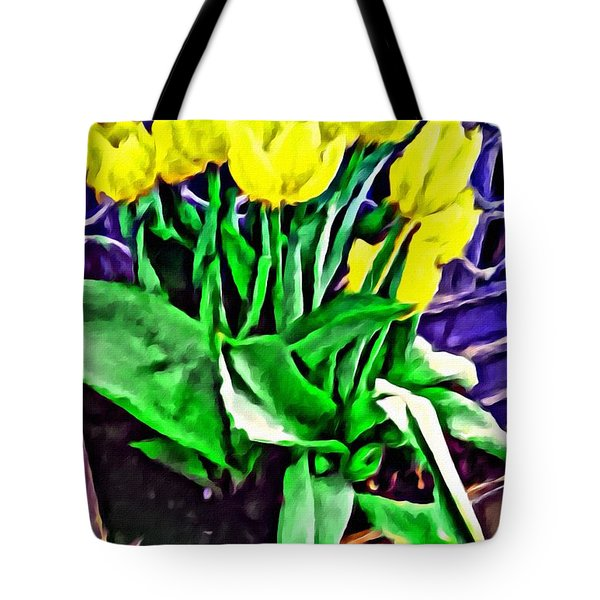 Tote Bag featuring the painting Yellow Tulips by Joan Reese