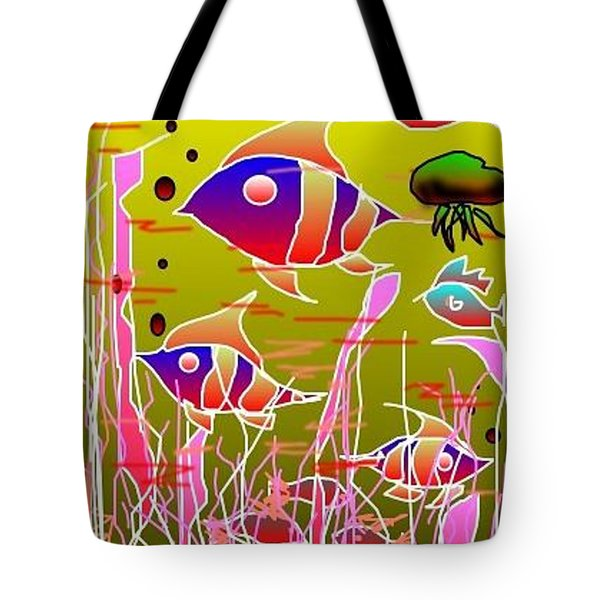 Tote Bag featuring the digital art Yellow Underwater by Rae Chichilnitsky