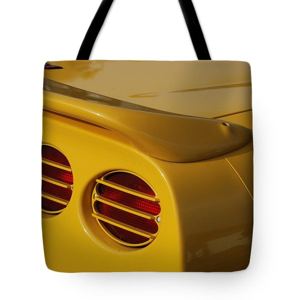 Yellow Vette Lights Tote Bag by Rob Hans