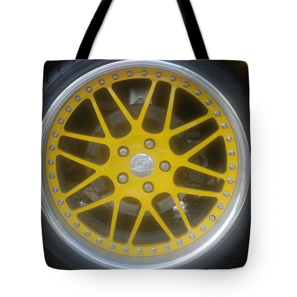 Yellow Vette Wheel Tote Bag by Rob Hans