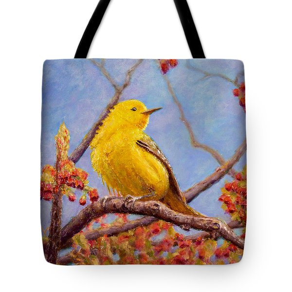 Tote Bag featuring the painting Yellow Warbler by Joe Bergholm