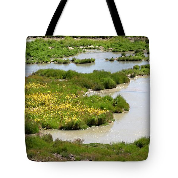 Yellow Wildflowers At Mud Volcano Area In Yellowstone National Park Tote Bag by Louise Heusinkveld