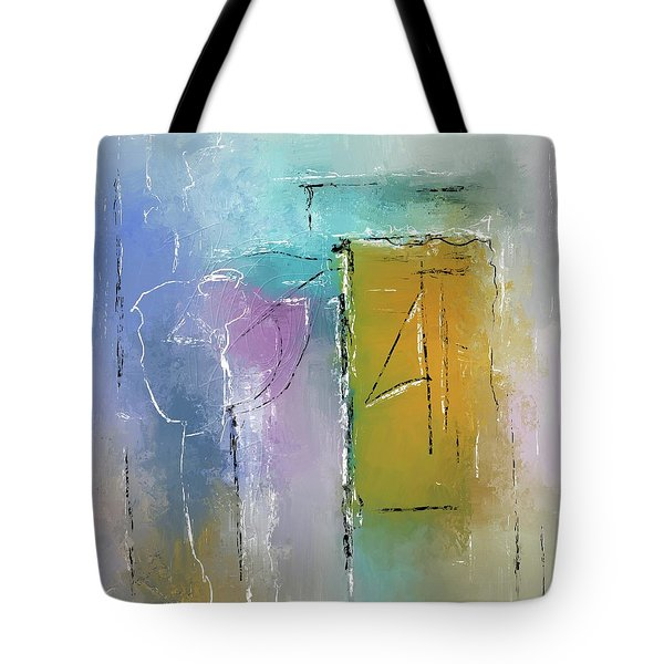 Tote Bag featuring the mixed media Yellows And Blues by Eduardo Tavares
