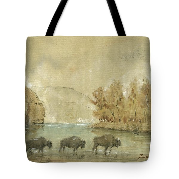Yellowstone And Bisons Tote Bag by Juan Bosco