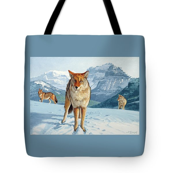 Yellowstone Coyotes Tote Bag by Paul Krapf