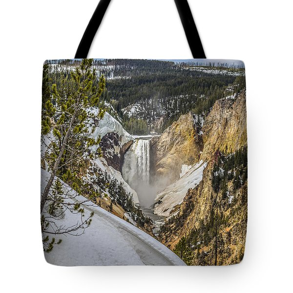 Tote Bag featuring the photograph Yellowstone Falls In Winter Snow by Yeates Photography