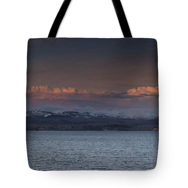 Yellowstone Lake At Sunset Tote Bag