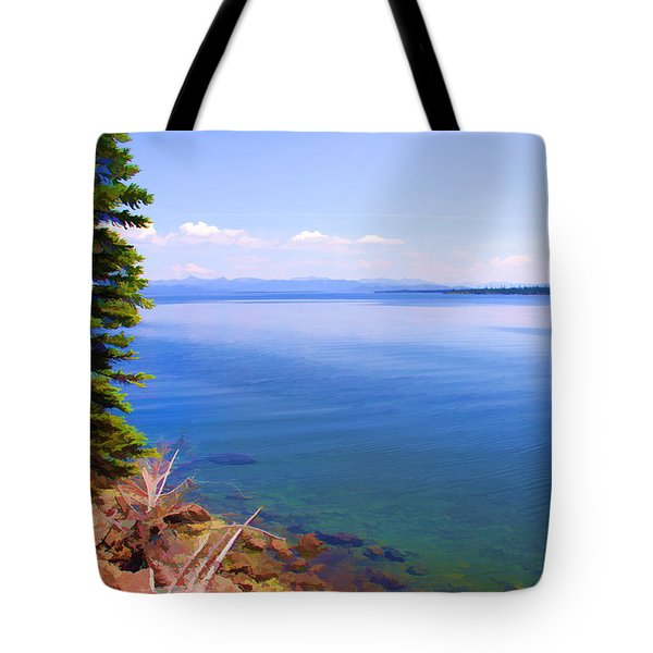 Yellowstone Lake In Watercolor Tote Bag