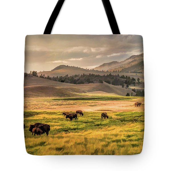 Yellowstone National Park Lamar Valley Bison Grazing Tote Bag