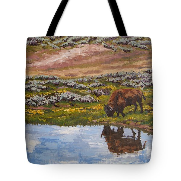 Tote Bag featuring the painting Yellowstone Reflections by Erin Fickert-Rowland