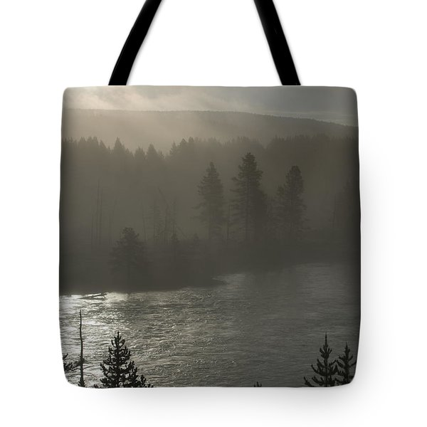 Yellowstone River Fog Tote Bag by Sandra Bronstein