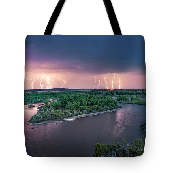 Yellowstone River Lightning Tote Bag by Leland D Howard