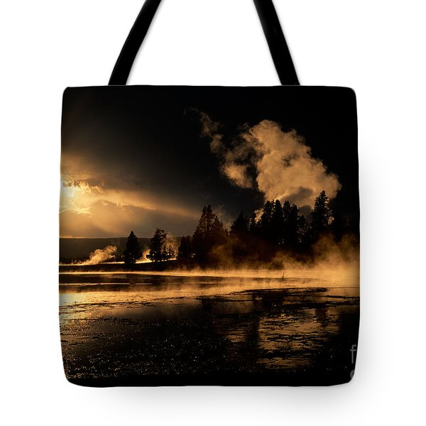 Yellowstone River Sunrise Tote Bag by Sandra Bronstein