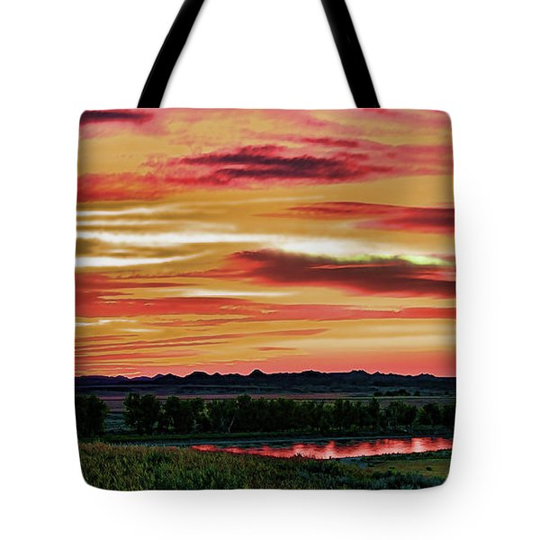 Yellowstone River Wildfire Sunset Tote Bag