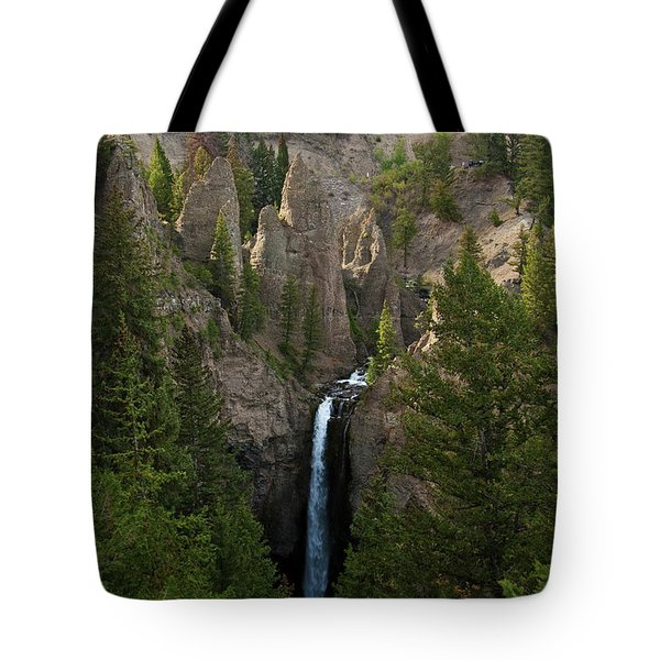 Tote Bag featuring the photograph Yellowstone Waterfall by Roger Mullenhour