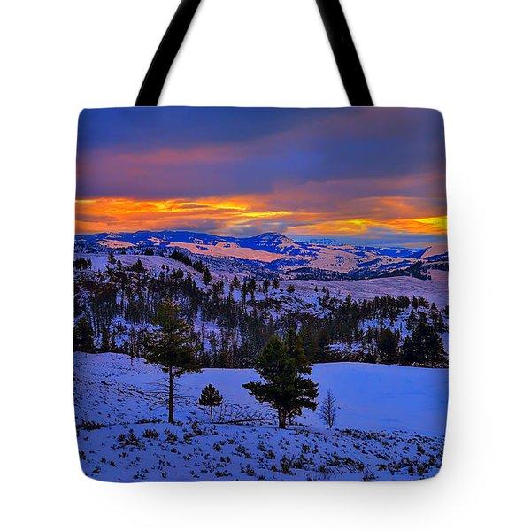 Yellowstone Winter Morning Tote Bag