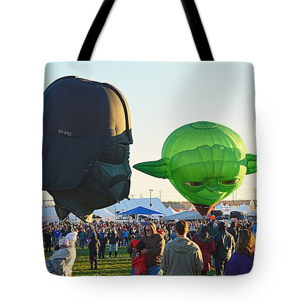 Tote Bag featuring the photograph Yoda And Darth by AJ Schibig