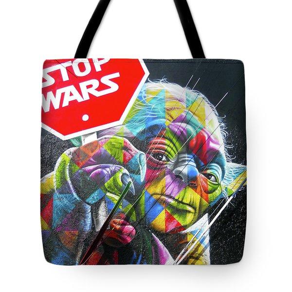 Yoda - Stop Wars Tote Bag