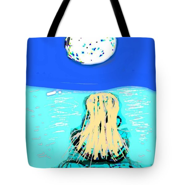 Yoga By The Sea Under The Moon Tote Bag