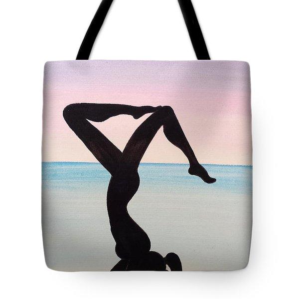 Yoga Hand Stand Balance At Beach Tote Bag by Beryllium Canvas