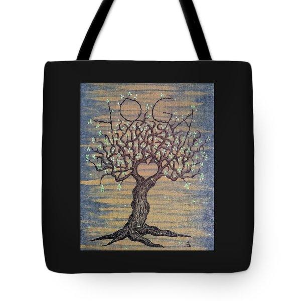 Yoga Love Tree Tote Bag