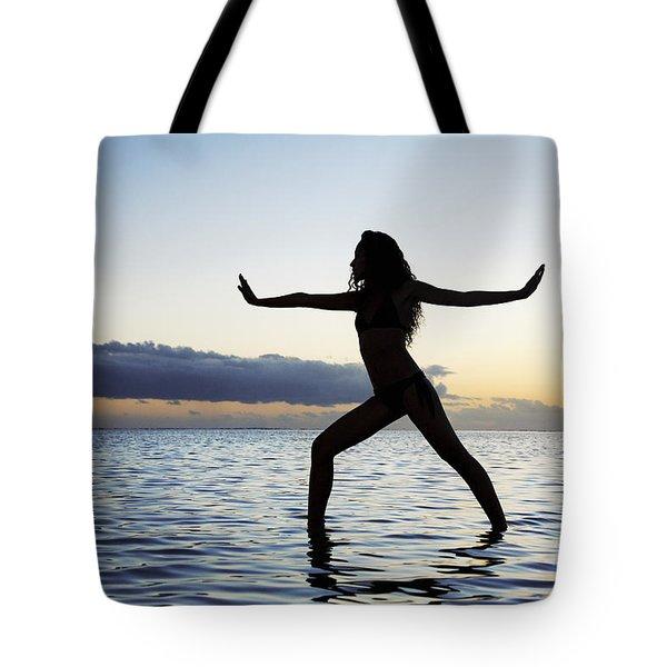 Yoga On The Coastline Tote Bag by Brandon Tabiolo - Printscapes