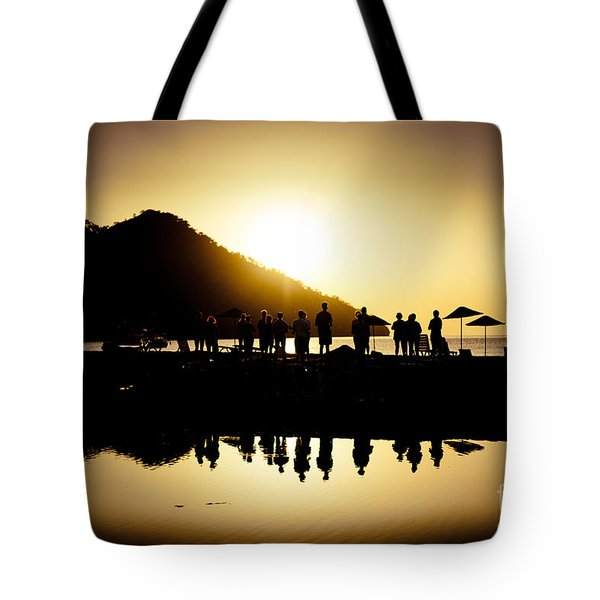 Yoga Sunrise At Sea Coast Tote Bag