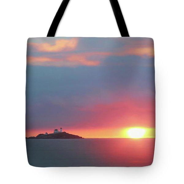 York Harbor At Dawn Tote Bag by Lori Deiter
