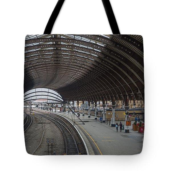 York Rail  Station  Northbound Tote Bag by David  Hollingworth
