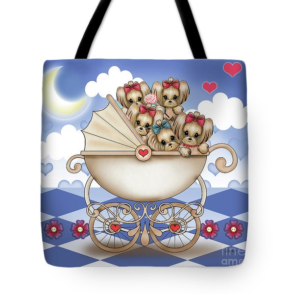 Tote Bag featuring the painting Yorkie Babies Strolling  by Catia Lee