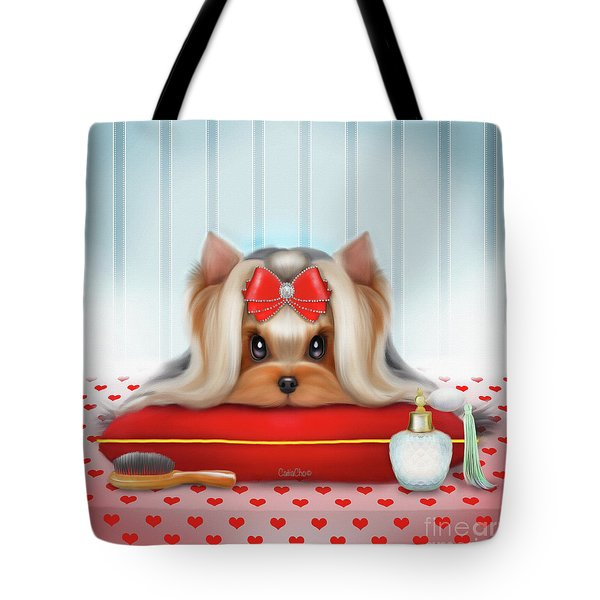 Tote Bag featuring the painting Yorkie Beauty by Catia Lee