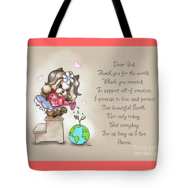 Tote Bag featuring the painting Yorkie Earth Day Prayer by Catia Lee