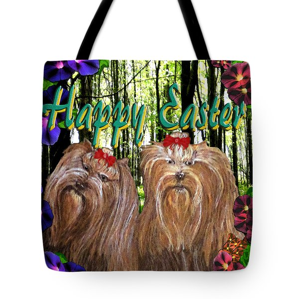 Tote Bag featuring the digital art Yorkie Easter by Michelle Audas