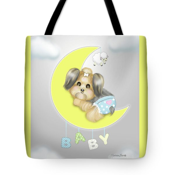 Tote Bag featuring the painting Yorkie Fofa Baby by Catia Lee