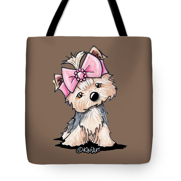 Yorkie In Bow Tote Bag