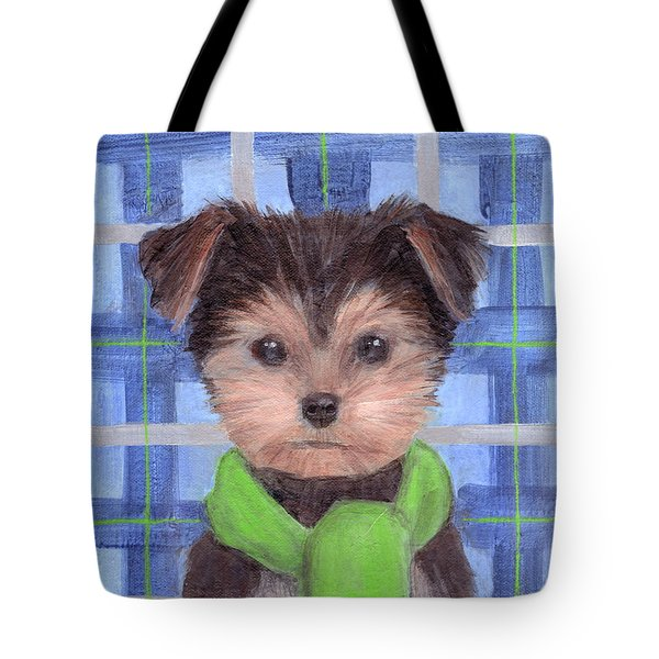 Yorkie Poo With Scarf Tote Bag