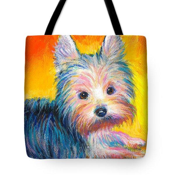 Yorkie Puppy Painting Print Tote Bag by Svetlana Novikova