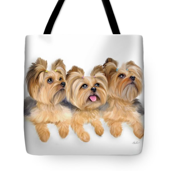Tote Bag featuring the painting Yorkie Trio by Catia Lee